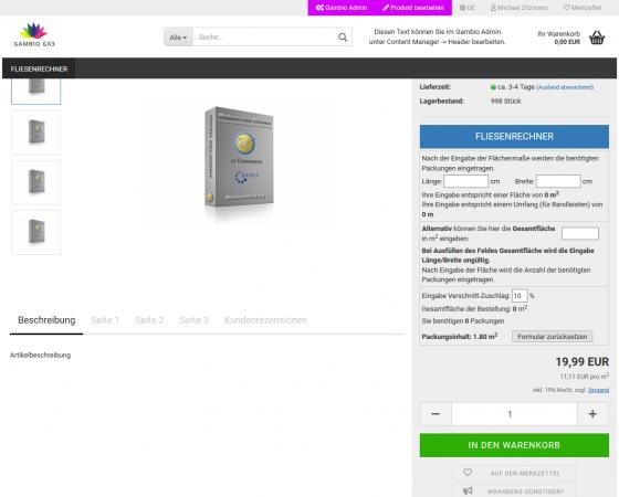 VPE Rechner / Packungsrechner für Gambio und modified